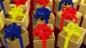 Christmas and New Year gift box looping on red background stock video