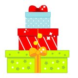 Christmas and New Year gift boxes. isolated icon. Christmas and New Year gift boxes. Vector icon royalty free illustration