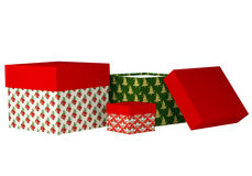 Christmas, New Year Gift Boxes Isolated On White Royalty Free Stock Photos