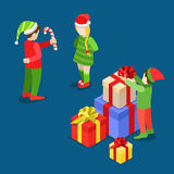 Christmas New Year gift boxes troll flat isometric vector 3d. Merry Christmas Happy New Year flat 3d isometry isometric concept web vector leaflet flyer card stock illustration