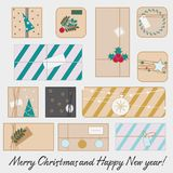 Christmas and new Year gift boxes. Winter seasonal presents set. vector line icons. Stickers, symbols Stock Photography