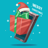 Christmas New Year Gift Card Mobile Phone Cartoon Design Vector Illustration. Christmas New Year Gift Card Mobile Phone Cartoon Vector Illustration Stock Photos