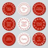 Christmas New Year gift round stickers. Labels and badges xmas set. Hand drawn decorative element. Holiday christmas Royalty Free Stock Photos