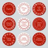 Christmas New Year gift round stickers. Labels and badges xmas set. Hand drawn decorative element. Holiday christmas Stock Photography