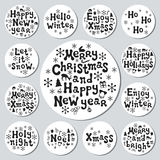 Christmas New Year gift round stickers. Labels xmas set. Hand drawn decorative element. Collection of holiday christmas Stock Image