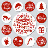 Christmas New Year gift round stickers. Labels xmas set. Hand drawn decorative element. Collection of holiday christmas. Stickers in red white. Texture. Vector stock illustration