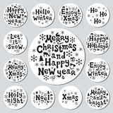 Christmas New Year gift round stickers. Labels xmas set. Hand drawn decorative element. Collection of holiday christmas. Stickers in black white. Texture stock illustration