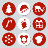 Christmas and New Year gift round stickers. Labels xmas set. Hand drawn decorative element. Collection of holiday. Festive christmas stickers in red and white Royalty Free Stock Photography