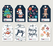 Christmas and New Year gift tags and cards. Hand drawn doodle design elements and calligraphy. Handwritten modern lettering Stock Image