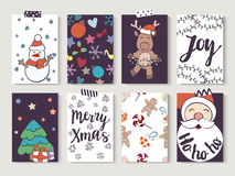 Christmas and New Year gift tags and cards. Hand drawn doodle design elements and calligraphy. Handwritten modern lettering Royalty Free Stock Photography