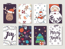 Christmas and New Year gift tags and cards. Hand drawn doodle design elements and calligraphy. Handwritten modern lettering Stock Photo