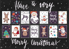 Christmas and New Year gift tags and cards. Hand drawn doodle design elements and calligraphy. Handwritten modern lettering Royalty Free Stock Photo