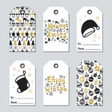 Christmas and New Year gift tags. Cards xmas gold set. Hand drawn element. Collection of holiday paper label in black. And white. Seasonal badge sale design royalty free illustration