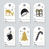 Christmas and New Year gift tags. Cards xmas gold set. Hand drawn element. Collection of holiday paper label in black. And white. Seasonal badge sale design vector illustration