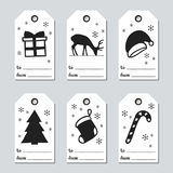 Christmas and New Year gift tags. Cards xmas set with hand drawing elements. Collection of holiday paper label in black. And white. Seasonal badge sale design Royalty Free Stock Photography