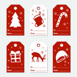 Christmas and New Year gift tags. Cards xmas set with hand drawing elements. Collection of holiday paper label in red. And white. Seasonal badge sale design Royalty Free Stock Images