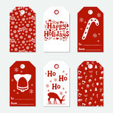 Christmas and New Year gift tags. Cards xmas set with hand drawing elements. Collection of holiday paper label in red. And white. Seasonal badge sale design Stock Images