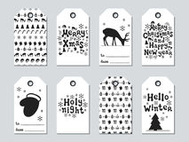 Christmas and New Year gift tags. Cards xmas set. Hand drawn elements. Collection of holiday paper label in black and. White. Seasonal badge sale design royalty free illustration