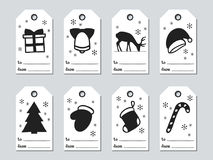 Christmas and New Year gift tags. Cards xmas set. Hand drawn elements. Collection of holiday paper label in black and. White. Seasonal badge sale design Stock Photo