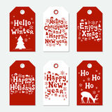 Christmas and New Year gift tags. Cards xmas set. Hand drawn elements. Collection of holiday paper label in red and. White. Seasonal badge sale design. Texture Stock Photography
