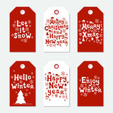 Christmas and New Year gift tags. Cards xmas set. Hand drawn elements. Collection of holiday paper label in red and. White. Seasonal badge sale design. Texture Royalty Free Stock Photo