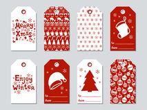 Christmas and New Year gift tags. Cards xmas set. Hand drawn elements. Collection of holiday paper label in red and. White. Seasonal badge sale design. Texture vector illustration