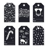 Christmas New Year gift tags. Cards xmas silver set. Hand drawn element. Collection of holiday paper label in black and. White. Seasonal badge sale design vector illustration