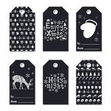 Christmas New Year gift tags. Cards xmas silver set. Hand drawn element. Collection of holiday paper label in black and. White. Seasonal badge sale design royalty free illustration
