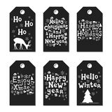 Christmas New Year gift tags. Cards xmas silver set. Hand drawn element. Collection of holiday paper label in black and. White. Seasonal badge sale design stock illustration