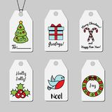 Christmas and New year gift tags. Shopping tags vector collection. Winter holidays greetings and decorations Stock Photography