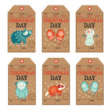 Christmas and New Year gift tags, stickers, labels. Vector Christmas labels collection with badger, cute bear, yeti, snowman and mittens. Holiday decoration Stock Illustration
