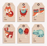 Christmas and New Year gift tags, stickers, labels. Vector Christmas labels collection with santa claus, cute fox, owls, deer, raccoon and mittens. Holiday stock illustration