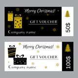 Christmas and new year gift voucher certificate Stock Image