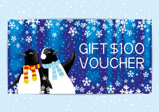 Christmas and New Year gift voucher. Christmas and New Year gift voucher with penguins Royalty Free Stock Images