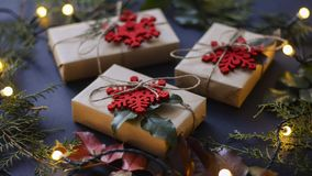 Christmas and new year gifts and decoration royalty free stock photos