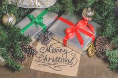 Christmas and New Year, gifts, toys, decor, fir and Christmas greetings. Close up royalty free stock photos