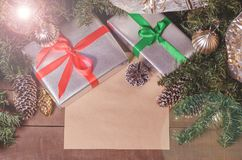 Christmas and New Year, gifts, toys, decor, fir and leaf with free space for text. Close up Royalty Free Stock Photography