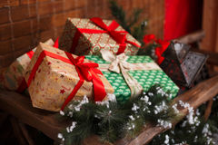 Christmas and New Year gifts under a christmas tree Stock Images