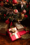 Christmas and New Year gifts under a christmas tree Stock Photo