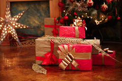 Christmas and New Year gifts under a christmas tree Stock Photography