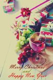 Christmas and New Year gifts on white table. Celebrate scene Stock Photography