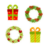 Christmas, New Year gifts and wreaths, vector flat. Christmas and New Year gifts and wreaths, vector flat design Royalty Free Stock Images
