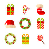 Christmas, New Year gifts and wreaths, vector flat Stock Photo
