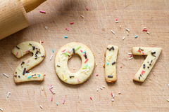 2017 Christmas and new year gingerbread cookies Royalty Free Stock Photos