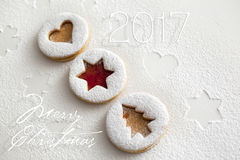 2017 Christmas and new year gingerbread cookies Royalty Free Stock Photography
