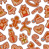 Christmas, New Year gingerbread seamless pattern. Christmas cookie and sweets seamless pattern of gingerbread man, gift box, xmas tree, snowman, candy cane, bell Stock Photos