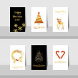 Christmas New Year gold card-s. Merry Christmas New Year golden tree deer small card with gold shiny tree, curve lines, candy canes, reindeer and wreath in gold Royalty Free Illustration