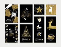 Christmas and new year gold card template set Royalty Free Stock Photos