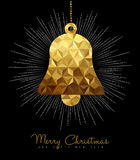 Christmas and New Year gold decoration bell Stock Images