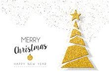 Christmas new year gold glitter holiday pine tree Stock Photos